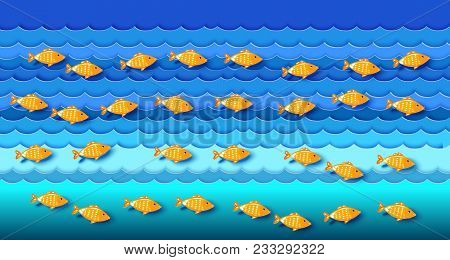 Many Fishes On Blue Waves In The Sea. Sailfish. Ocean And Sea Fishing. Eco, Nature Background. Vecto