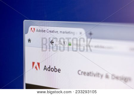 Ryazan, Russia - March 01, 2018 - Homepage Of Adobe On A Display Of Pc, Web Adress - Adobe.com.