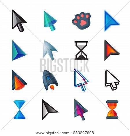 Cursor Vector Cursorial Pointer Icons Of Mouse Arrow And Hourglass Illustration Set Of Point Signs C