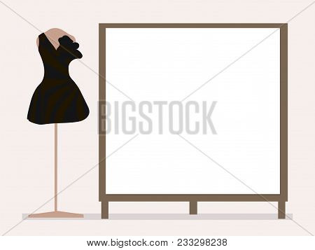 Black Cocktail Dress On A Pink Mannequin Next To An Empty Board For Entries On A Pale Pink Backgroun