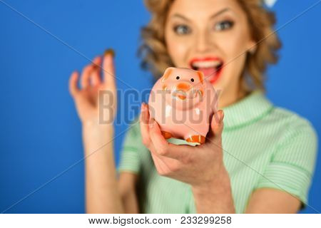 Bankruptcy And Handout, Family Budget. Retro Woman Hold Moneybox, Piggy Bank For Savings. Money, Sal