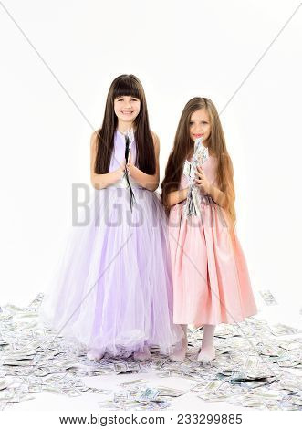 Credit, Business Success, Future, Fortune. Little Girls Sisters With Money, Dollars, Savings. Curren