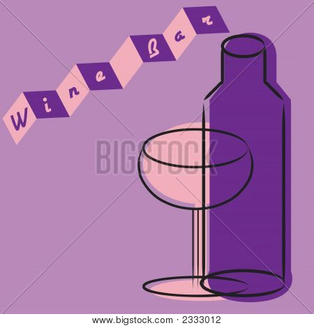 Retro Wine Glass And Bottle