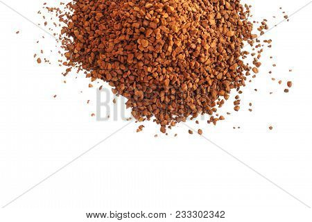 Instant Coffee Isolated On White.  Hill Threw The Coffee Granular.