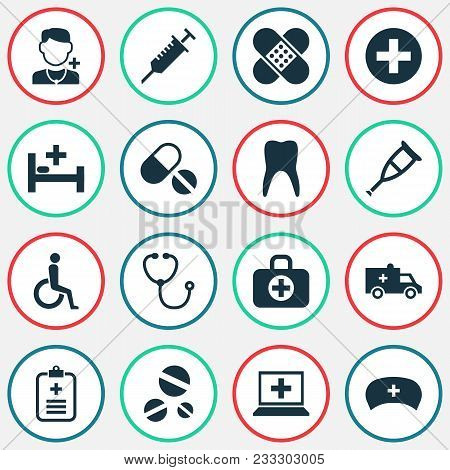 Medicine Icons Set With Stethoscope, Adhesive Plaster, Nurse Hat And Other Peck Elements. Isolated V