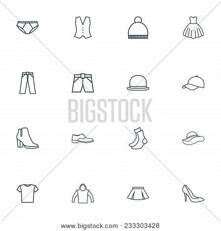 Clothes Icons Line Style Set With Vest, Evening Gown, Panama And Other Waistcoat Elements. Isolated