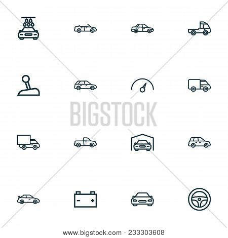 Car Icons Line Style Set With Prime-mover, Speedometer, Car And Other Car Elements. Isolated Vector