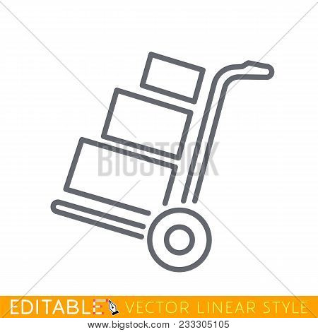 Hand Truck With Cardboard Boxes Line Icon, Logistic And Delivery, Hand Dolly Sign. Editable Stroke S
