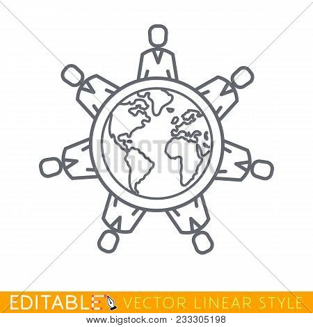 World Conference. People Sitting Around Table Talking. Planet Earth Round Table Meeting, Community,