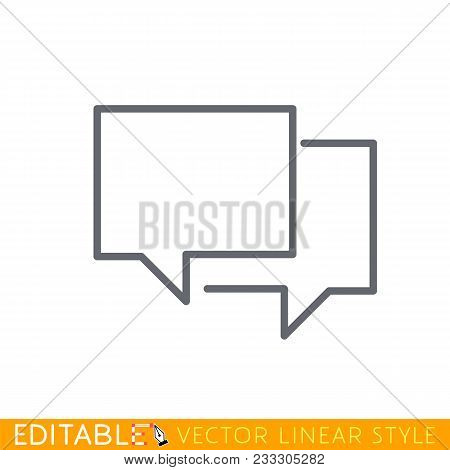 Chat Bubbles Vector Line Icon Isolated On White Background. Vector Line Icon Of Speach Bubble For Ch