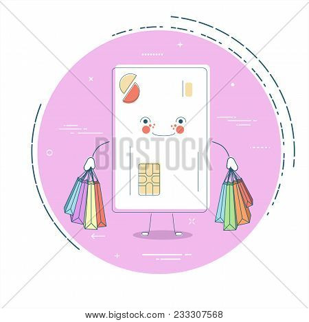 Credit Card With Shopping Bags In Line Art Style. Banking And Finance, Ecommerce Service, Business T