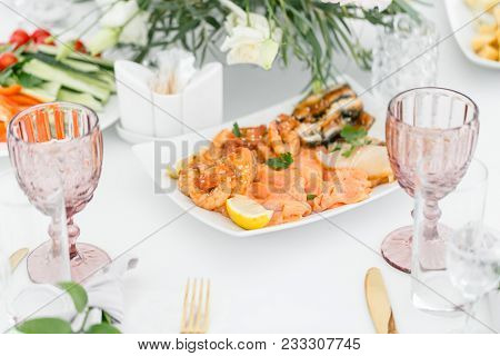 Fish Platter. Plate With Seafood On The Table, Snacks At The Banquet, Wedding Banquet, Table Setting