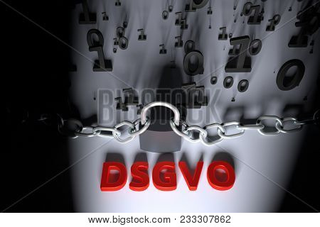 DSGVO, german version of GDPR, concept illustration. General Data Protection Regulation, the protection of personal data. Data and chain with lock. 3d render illustration.