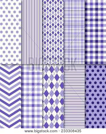 Lavender Seamless Patterns Include Polka Dots, Stripes, Gingham/plaid, Chevron, Argyle And More.