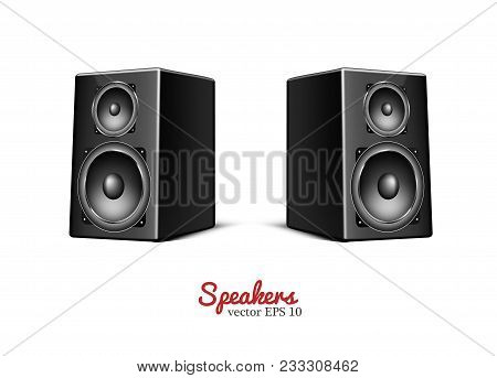 Sound Speaker In Wooden Body. Music Loudspeaker, Sub Woofer Acoustic Stereo Concert Musical Equipmen