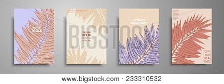 Pastel Covers Design Set With Tropical Leaves. Modern Covers Template Design. Applicable For Design