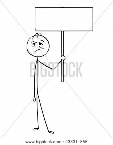 Cartoon Stick Man Drawing Conceptual Illustration Of Tired Or Exhausted Businessman Holding Empty Si