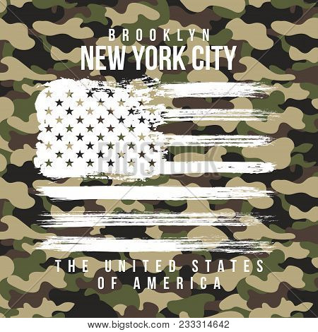 T-shirt Design With Camouflage Texture. New York City Typography With Slogan For Shirt Print. T-shir