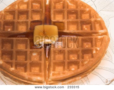 Waffle Covered With Syrup