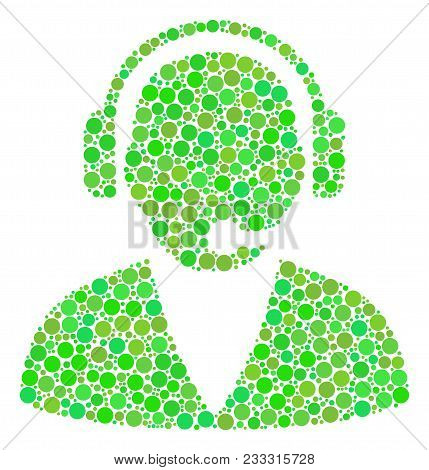 Support Operator Collage Of Circle Elements In Variable Sizes And Eco Green Color Hues. Vector Dots