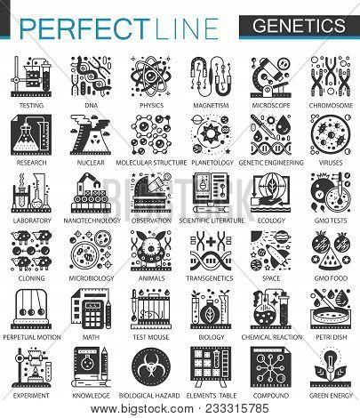 Biochemistry genetics black mini concept icons and infographic symbols set poster