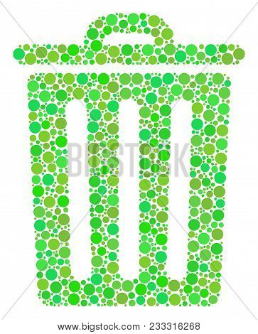 Trash Bin Collage Of Filled Circles In Various Sizes And Ecological Green Color Tinges. Vector Round