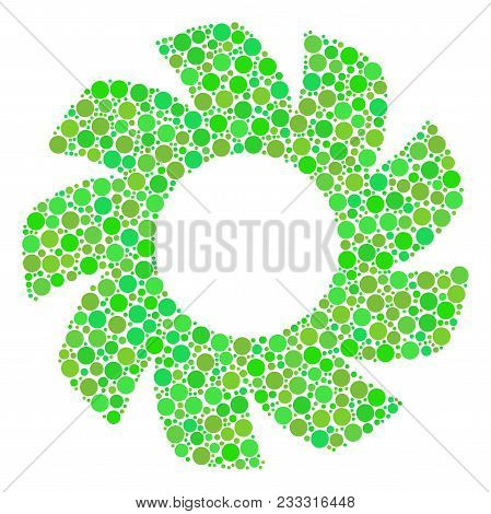 Turbine Composition Of Circle Elements In Various Sizes And Fresh Green Color Hues. Vector Circle El