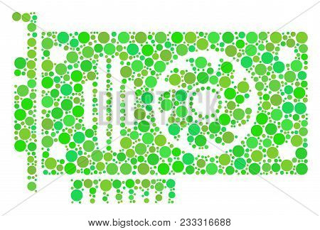 Video Gpu Card Composition Of Dots In Variable Sizes And Fresh Green Shades. Vector Filled Circles A