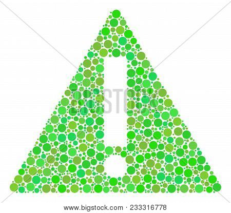 Warning Composition Of Dots In Various Sizes And Ecological Green Color Tinges. Vector Circle Elemen