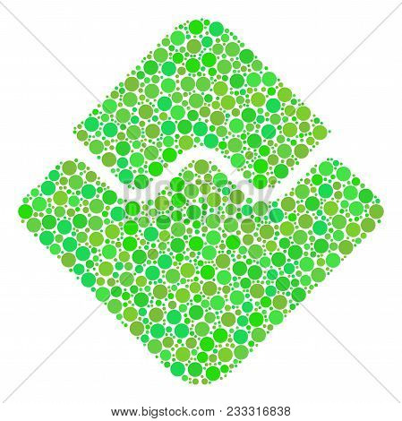 Waves Currency Composition Of Dots In Variable Sizes And Eco Green Color Tones. Vector Round Element