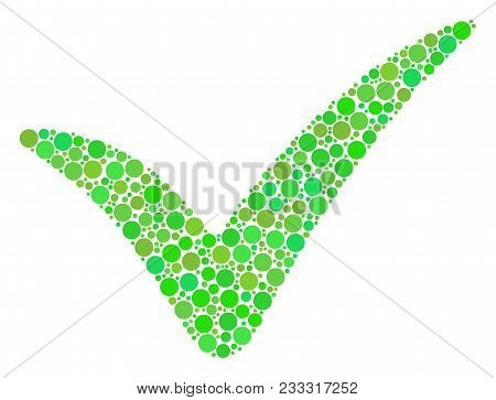 Yes Composition Of Filled Circles In Variable Sizes And Fresh Green Shades. Vector Dots Are Organize