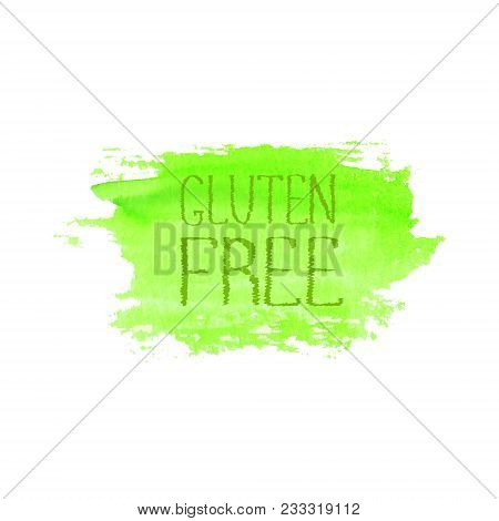 Gluten Free Food Concept Logo Design. Green Watercolor Hand Drawn Label Emblem Template. Lettering G