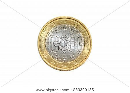 French Coin Of One Euro Closeup With Tree Symbol With The Motto Liberte Egalite Fraternite Of France