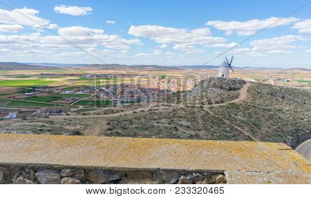 Traditional windmills of Castilla La Mancha. Toledo, Spain.windmills that were used to grind the cereal
