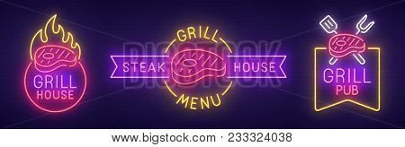 Big Set Neon Sing. Grill House Label And Logo. Grill Pub Banner, Logo, Emblem And Label. Bright Sign