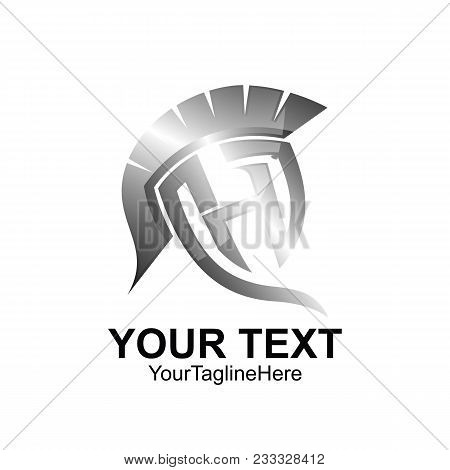 Initial Letter H Logo Template Colored Silver Warrior Spartan Design For Business And Company Identi
