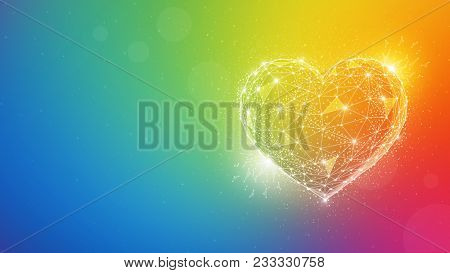 Polygonal love valentine heart made of lines and dots on blurred gradient multicolor background in the colors of the rainbow for greeting card. Valentine's Day holiday and sexual minorities concept.
