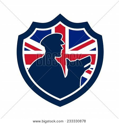 Icon retro style illustration of a British police canine team showing a policeman and police dog silhouette with United Kingdom UK, Great Britain Union Jack flag set inside circle isolated background. poster