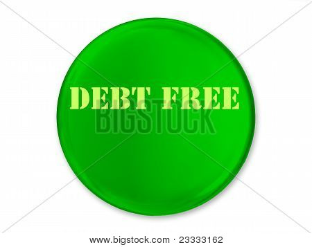 A Green Glossy Debt Free Button