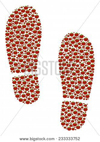 Boot Footprints Mosaic Of Tomato. Vector Tomato Vegetable Elements Are Grouped Into Boot Footprints