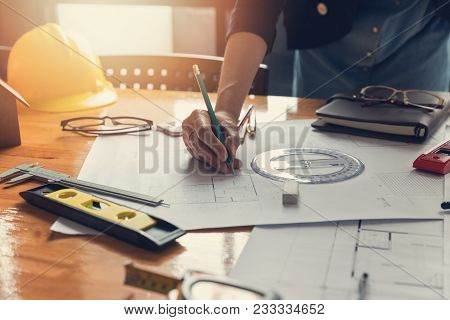 Engineer And Architect Concept, Engineer Architects Office Team Working With Blueprints