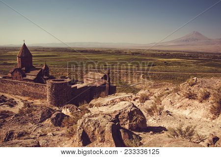 Khor Virap Monastery Top View. Mountain Ararat On Background. Exploring Armenia. Armenian Architectu