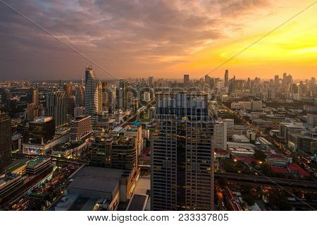 Building In Ratchaprasong And Sukhumvit Area Is Center Of Business, Shopping, Travel, And Hotel In B