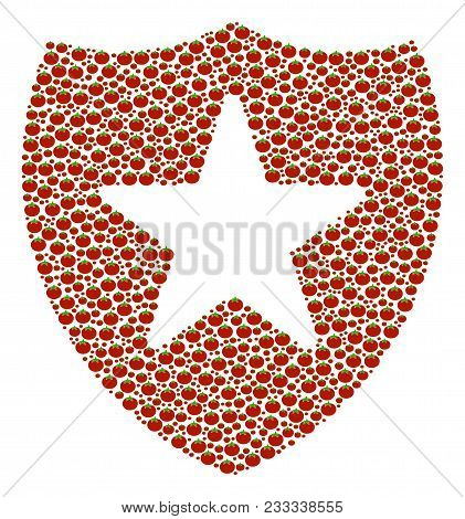 Guard Mosaic Of Tomato. Vector Tomato Vegetable Symbols Are Organized Into Guard Shape. Nutrition Ve