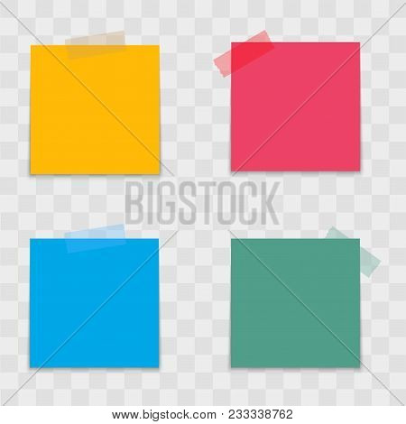 Realistic Colorful Note Papers On Sticky Tape. Vector