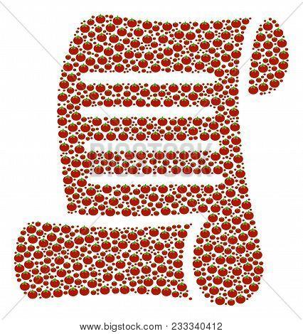 Script Roll Composition Of Tomato. Vector Tomato Vegetable Symbols Are Composed Into Script Roll Sha