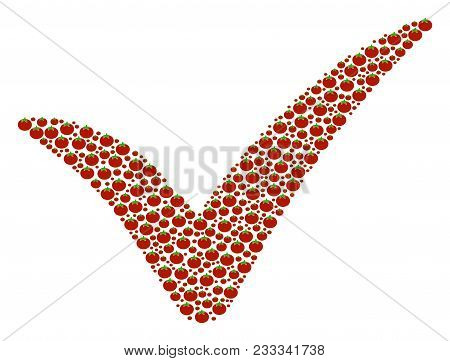Yes Composition Of Tomato. Vector Tomato Items Are Grouped Into Yes Figure. Healthy Vector Design Co