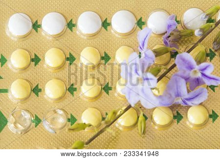 Oral Contraceptives Woman Eat Birth Control Pills Baby On Background White