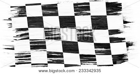 Closeup Of Art Brush Watercolor Painting Checkered Black And White Racing Flag Blown In The Wind Iso