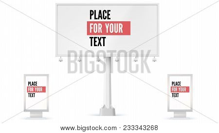 Billboard And Lightbox, Ad Panel Placeholder For Advertisement. 3d Illustration Isolated On White Ba